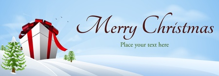 merry christmas banner: Illustration of a giant Christmas gift in winter landscape, banner background
