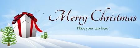 merry christmas text: Ilustraci�n de un regalo de Navidad gigante en el paisaje de invierno, bandera