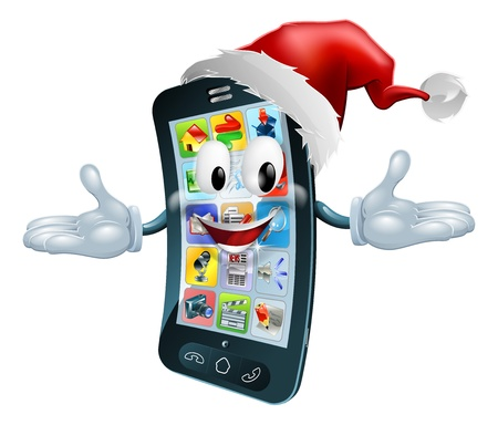mobile phone icon: Illustration of a happy Christmas cell phone wearing a Santa Claus hat