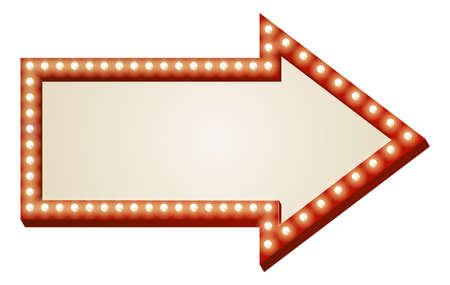 the arrow: Ilustraci�n de la muestra de la flecha roja con copia espacio y bombillas rodean