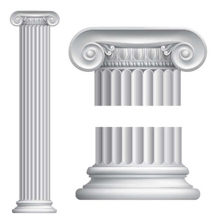 Illustration of classical Greek or Roman Ionic column Vector