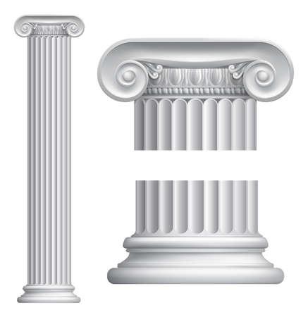 templo romano: Ilustración de la columna jónica clásica griega o romana