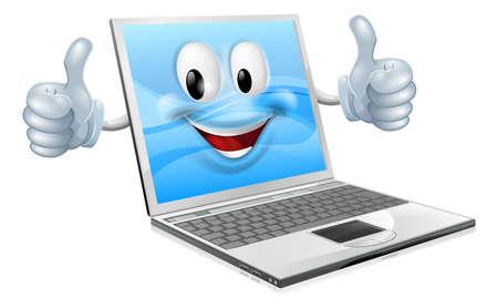 computadora caricatura: Ilustraci�n de un hombre laptop lindo mascota dando un pulgar hacia arriba Vectores