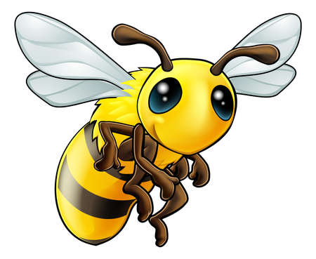 cute bee: An illustration of a cartoon cute Bee character