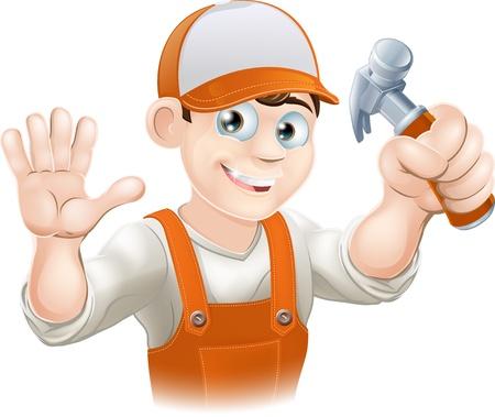 overalls: Gr�fico de sonriente manitas, constructor, trabajador de la construcci�n o carpinter�a con un mono sosteniendo un martillo y agitando