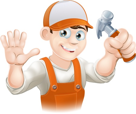 tradesperson: Graphic of smiling handyman, builder, construction worker or carpenter in overalls holding a claw hammer and waving