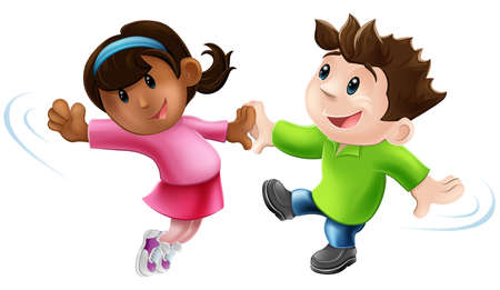 female child: An illustration of two cute happy cartoon dancers dancing together