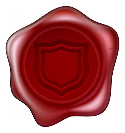 A red sealing wax seal with a shield motif embossed on it. Concept for guaranteed secure or similar. Vector
