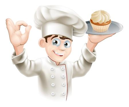 panadero: Ilustración del panadero que sostiene una bandeja con una magdalena en él Vectores