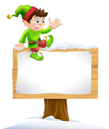 christmas costume: A cute Christmas elf on sitting on a snowy sign and waving