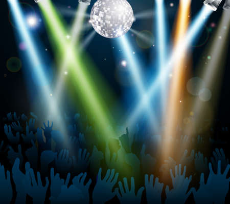 gig: Crowd dancing at a concert or on a disco nightclub dance floor with hands up under a mirror ball with lights