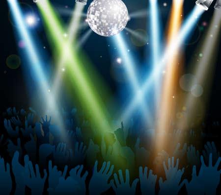 retro disco: Multitud bailando en un concierto o en una pista de baile dance club nocturno con las manos bajo una bola de espejos con luces