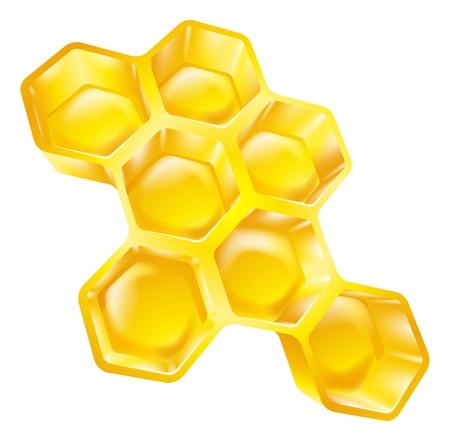 Illustratie van bijenwas honingraat vol heerlijke honing