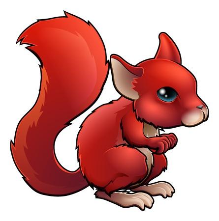 ardilla: Ilustración de una ardilla roja linda de la historieta feliz