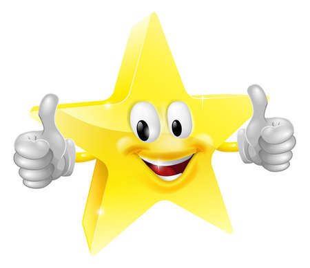 thumb up: A happy cartoon star man giving a double thumbs up