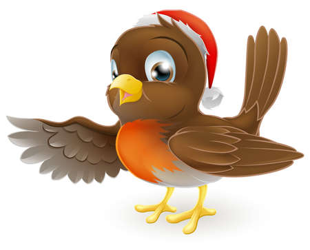 Cartoon Christmas Robin bird mascot in a Christmas hat pointing with its wing Vector