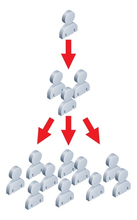 multiplying: Concept for for viral marketing or internet trend spreading to lots of people.