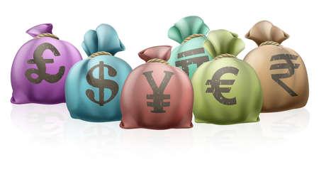 libra esterlina: Las bolsas de dinero de diferentes países con símbolos de moneda en ellos