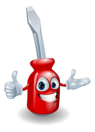 Cartoon Illustration von einem roten Schraubendreher Mann lächelnd und dabei einen Daumen nach oben Geste