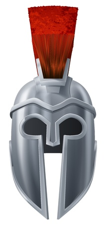 ancient roman: Illustration of Corinthian or Spartan helmet like those used in ancient Greece or Rome