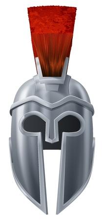 casco rojo: Ilustración del casco corintio o espartano como los utilizados en la antigua Grecia o Roma Vectores