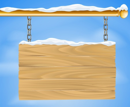 snow chain: A rustic wooden snow covered winter Christmas sign hanging suspended from a brass metal pole with the blue sky in the background