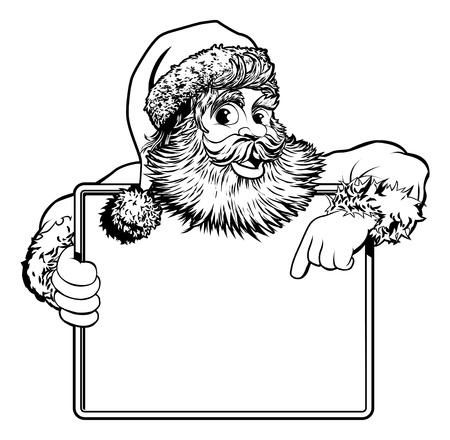 Black and white Christmas illustration of Santa holding and pointing at a sign Vector