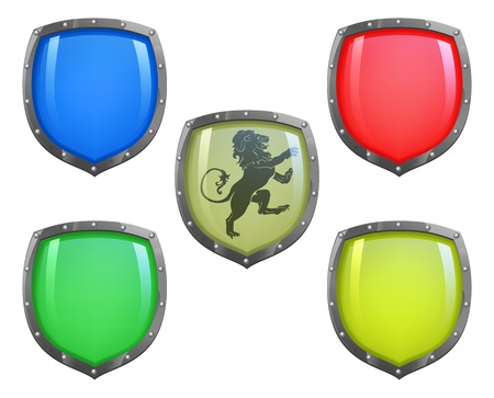 Illustration of shield in 5 different colours and lion motif Vector