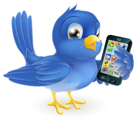 cartoon Birds: Illustration of a cute happy bluebird holding a mobile cell phone