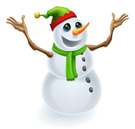 Happy Christmas Snowman wearing a cute green and red pixie or elf hat Vector