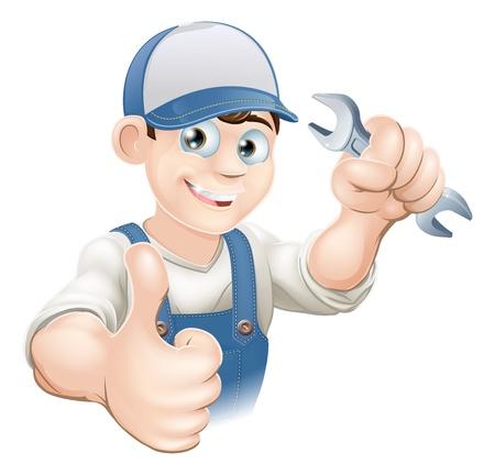 mekanik: Illustration av en lycklig rörmokare, mekaniker eller hantlangare i arbetskläder som innehar en skiftnyckel och ger tummen upp
