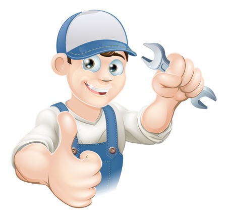 Illustration of a happy plumber, mechanic or handyman in work clothes holding a spanner and giving thumbs up Illustration