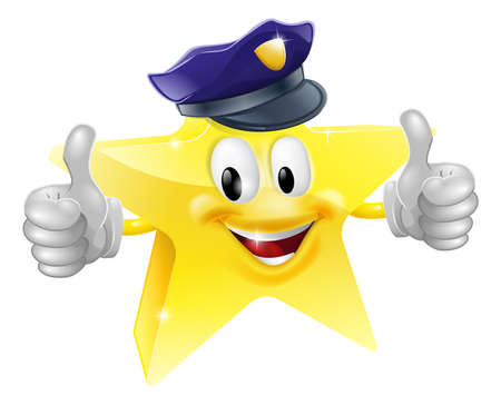 star man: Star policeman cartoon of a star police character smiling and doing a thumbs up Illustration