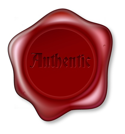 Red wax seal bearing the word authentic. Guarantee of being genuine or authenticity Vector