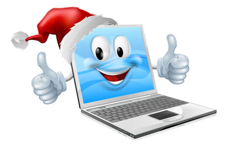 computer mascot: Illustration of a happy Christmas laptop computer wearing a Santa Claus hat Illustration