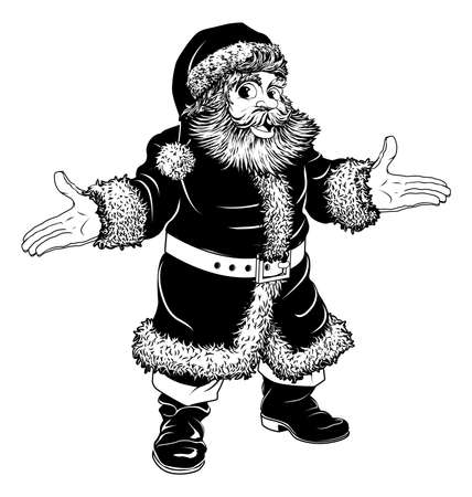 Illustration of a black and white Christmas Santa Claus Stock Vector - 15045998