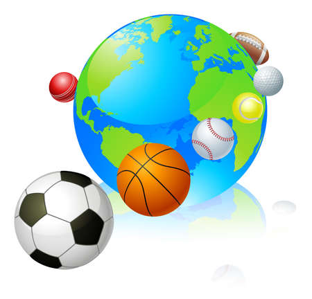 Sports globe world concept, a globe with different sports balls flying around it. Vector