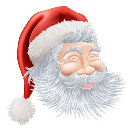 Illustration of a happy cartoon Christmas Santa face