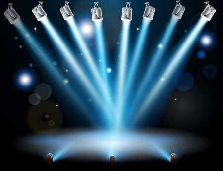 dance: Las luces azules se centr� en un punto en el centro Vectores