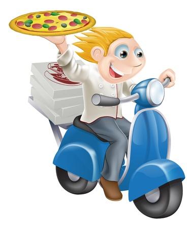 delivering: Gr�fico de un chef de pizza comida r�pida aceleraci�n a lo largo de sus blancos del cocinero entregan pizza.