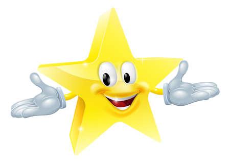 estrella caricatura: Una ilustración de un personaje estrella de oro sonriente