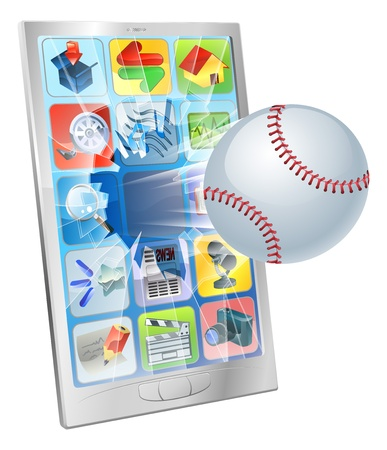 sports app: Illustration of a baseball ball flying out of a broken cell phone screen Illustration