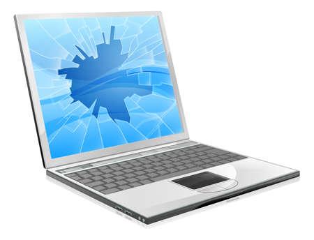 laptop repair: Una ilustraci�n de un ordenador port�til con una pantalla rota o rota