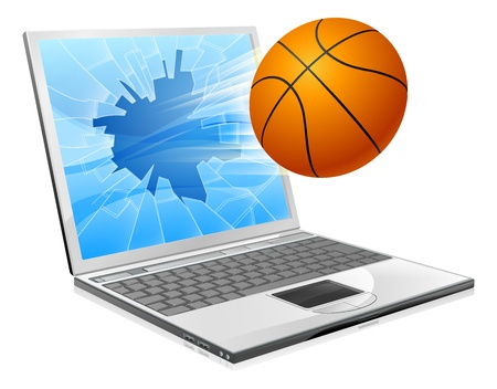 sports application: Illustration of a basketball ball flying out of a broken laptop computer screen