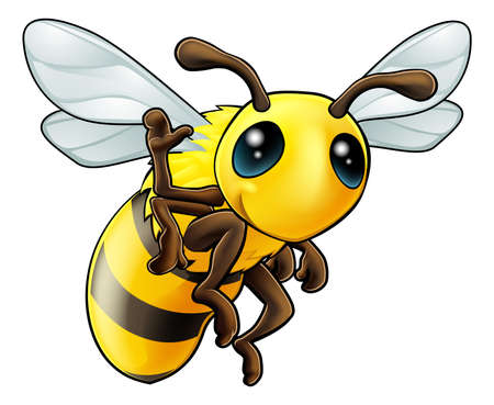 Illustration of a cute happy waving cartoon bee character Vector
