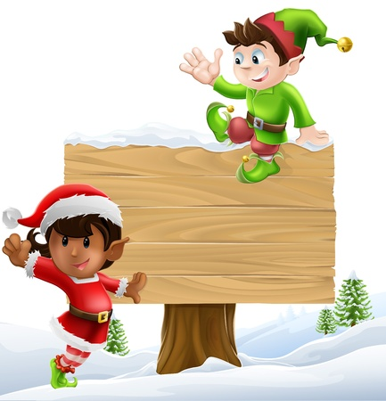 helper: Cute elves one leaning on and one sitting on a Christmas sign in a winter landscape