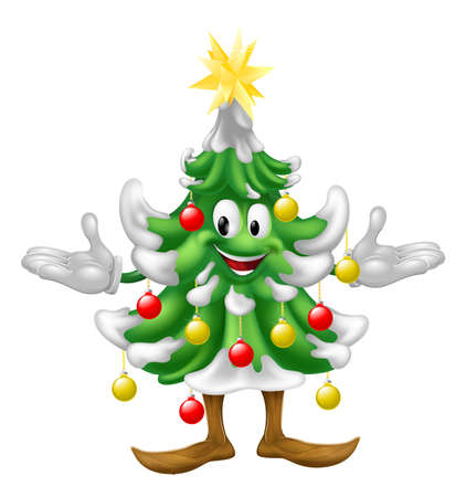 A decorated cartoon Christmas tree man with baubles and a star on top