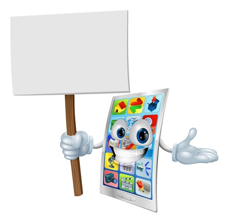 mobile cartoon: Metal cell phone cartoon character holding up a sign