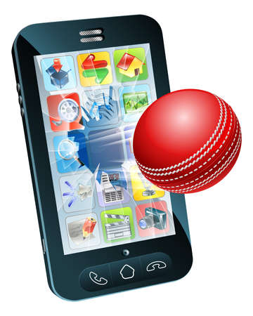 criket: Illustration of an cricket ball flying out of mobile phone screen