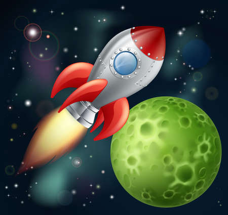 Illustration of a cartoon rocket spaceship with space background and planets and stars Vector